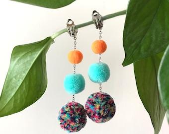 Pom pom earrings, festival earrings, layered pom pom earrings, chained earrings, rainbow earrings, free shipping over USD19