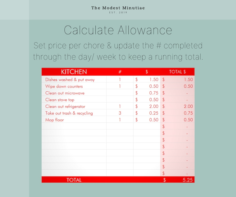 Chore Chart & Allowance Excel Tracker | Etsy