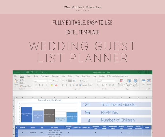 Wedding Guest List Excel Template Blue Excel Google Etsy