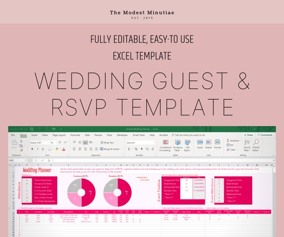 Wedding Guest List Template Excel Spreadsheet Template Etsy