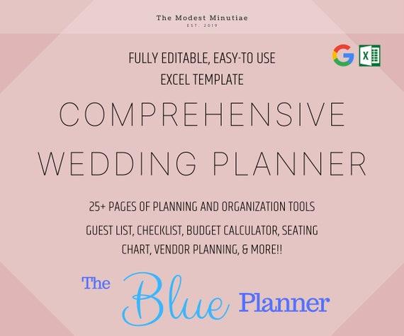 Comprehensive Wedding Planning Excel Template Blue Etsy