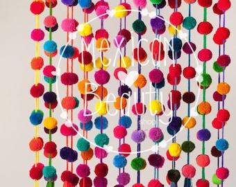 Multicolored Handmade Pom pom Garland / Pom Pom String  / Pompom strand / Wedding Decor / Party Decor / Girl Decor / Bechelorette Decor