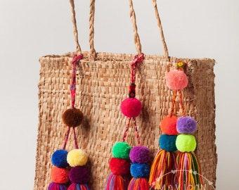 261903093c Pompoms   Bag charm   Bag decor   handmade colorful pom pom tassel Charms    Mexican Pom Poms