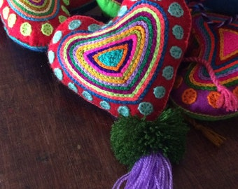 Mexican Large Felt Hearts / Hand Embroidered hearts with pom-poms / heart pompom tassel charm / wedding favors / baby shower