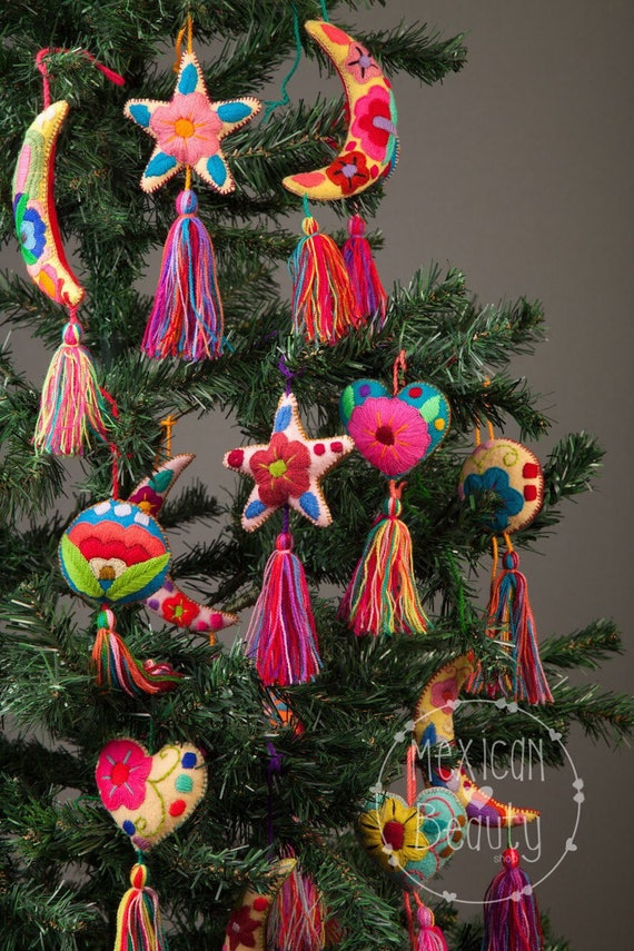 Mexican Christmas.Christmas Tree Ornament Mexican Ornaments Christmas Ornaments Christmas Decorations Embroidered Mexican Xmas Ornaments