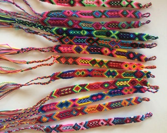 100 Mexican Friendship Bracelet / Lot -100 pieces / 1 cm wide / gipsy boho hippie bracelet / party favors / Mexican wedding
