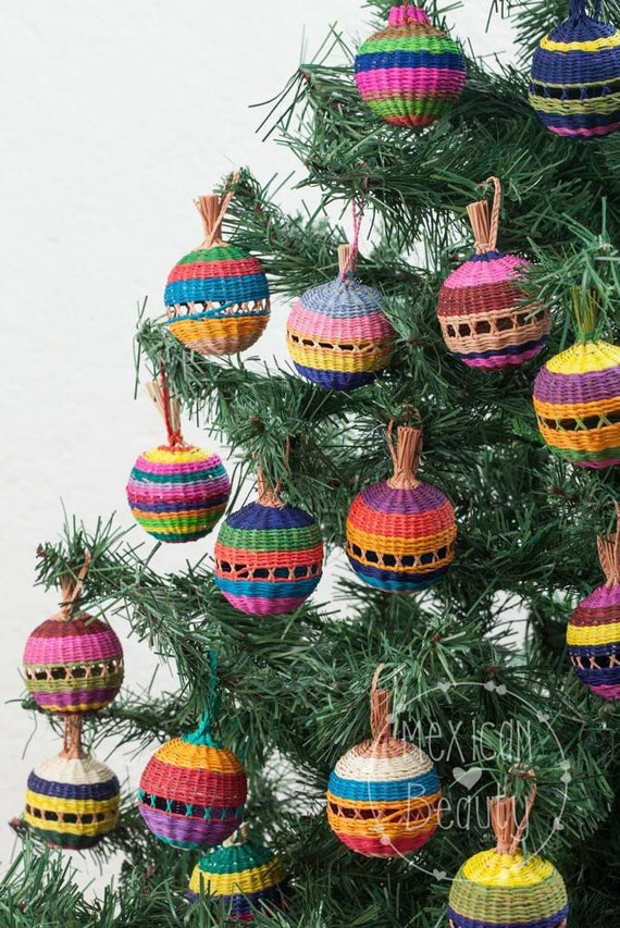 Mexican Christmas.Mexican Christmas Tree Ornaments Beautiful Palm Leaf Spheres With Rattle