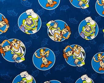 Disney Toy Story Buzz and Woody Blue Circles Fabric by the yard half yard or other various lengths