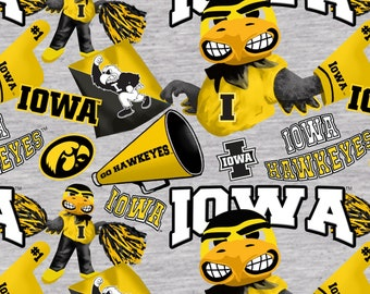 Iowa Hawkeyes Cheer Gray Fabric 100% cotton fabric in various lengths
