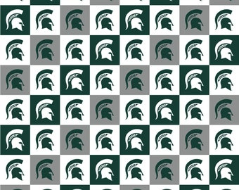 Michigan State Spartans Squares Digitally Printed fabric by the yard and half yard and other various lengths