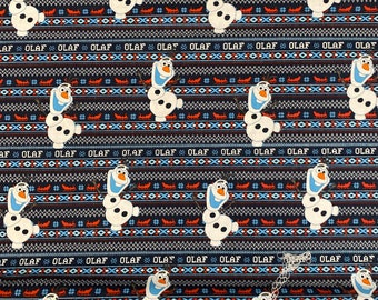 Disney Frozen Navy Blue Fabric Featuring Olaf By The Yard and half yard and other various lengths
