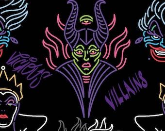 Villain Outline Disney Fabric in various lengths, Maleficent, Ursula, Cruella De Vil, The Evil Queen