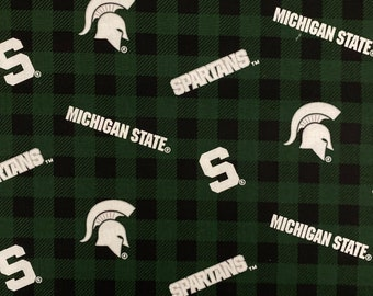 Michigan State Spartans Plaid Print Cotton fabric by the yard and half yard and other various lengths