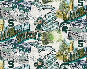 Michigan State Spartans Scenic Map Cotton fabric by the yard and half yard and other various lengths