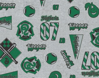 Slytherin Fabric, Harry Potter Fabric, Slytherin Pride Fabric by  various lengths