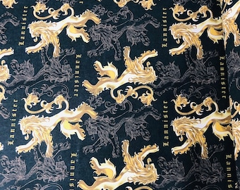 Game of Thrones, House Lannister, GoT, fabric by the yard and half yard and other various lengths