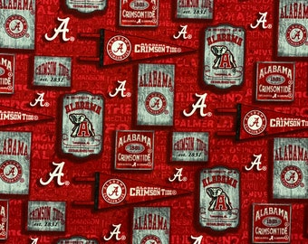 Alabama Crimson Tide Vintage Pennants 100% cotton fabric by the yard and half yard and other various lengths
