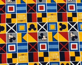 Disney Mickey Mouse Nautical Flags Fabric by the yard and half yard and other various lengths