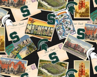 Michigan State Spartans Scenic Postcard Cotton fabric by the yard and half yard and other various lengths