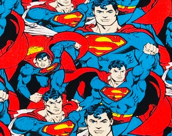Superman Crowd Fabric by the yard or half yard and other various lengths