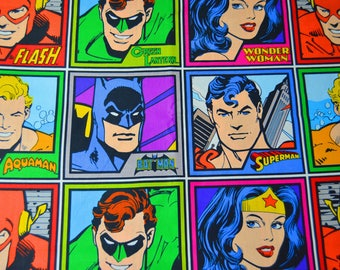 DC Universe Justice League Character Fabric Featuring Batman, Super Man, Flash, Aquaman, and Wonder Woman Fabric (1 Yard Cuts)