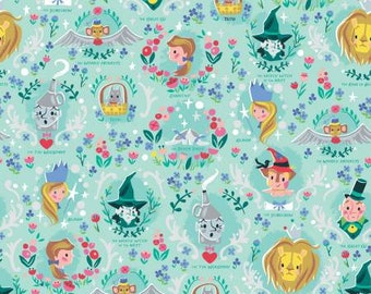 Wizard of Oz Dorothy's Vignette Mint With Silver Sparkle fabric by the yard and other various lengths