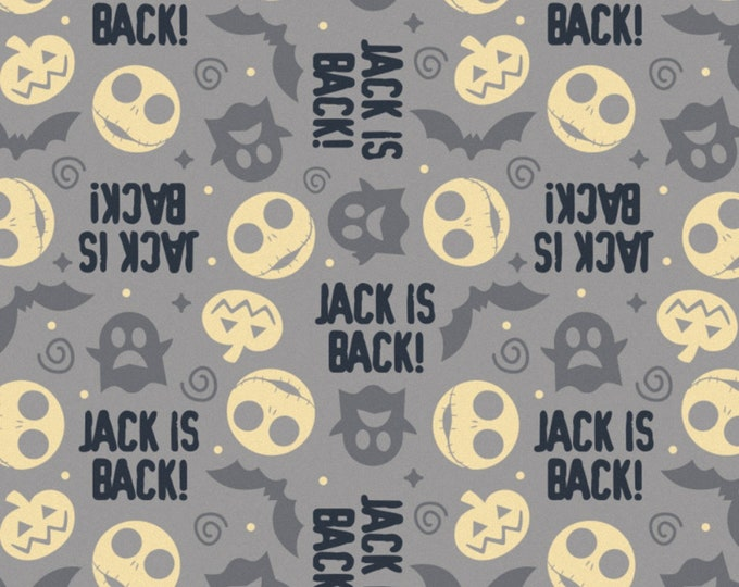 Featured listing image: NOW IN STOCK! Nightmare Before Christmas Jack Is Back Grey Toss Fabric by various lengths