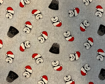Star Wars Storm Troopers & Darth Vader Christmas Toss Grey Fabric in various lengths
