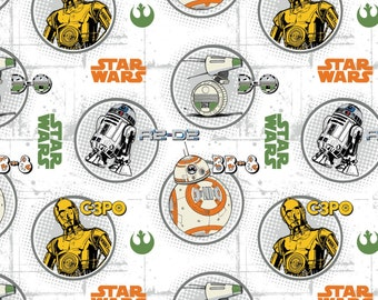 Star Wars Droid Circles White Fabric by the yard and other lengths