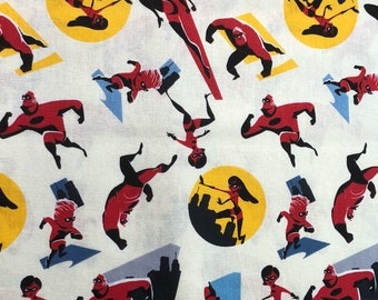 Pixar The Incredibles Fabric By The Yard and half yard and other various lengths