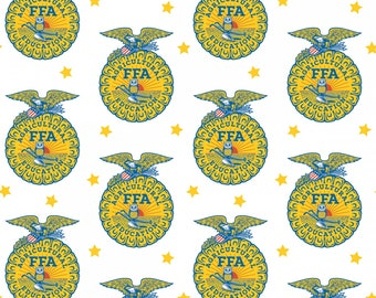 FFA Fabric, Future Famers of America Fabric White Logo Fabric by the yard and other various lengths