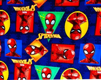 Marvel Spiderman Badge  Fabric by the yard or half yard or other various lengths