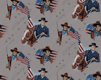 John Wayne Toss Gray Fabric by the yard and other various lengths