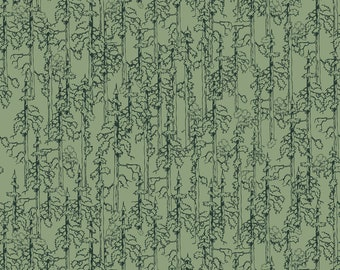 Forest Light Green Smokey Bear Fabric by the yard and half yard and other various lengths