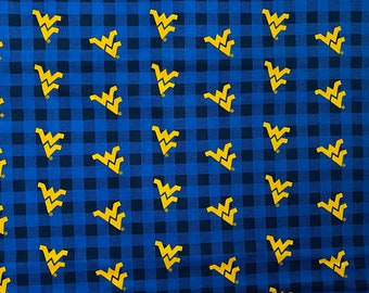 West Virginia University Plaid 100% cotton fabric by various lengths
