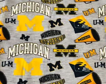 Michigan Wolverines Digitally Printed Gray fabric by the yard and half yard and other various lengths