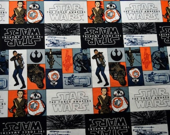 Star Wars Episode VII The Force Awakens Fabric Featuring: Rey, Finn, Chewbacca Etc. by the yard and half yard and other various lengths