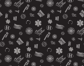NOW IN STOCK! First Responders Black Toss Fabric in various lengths