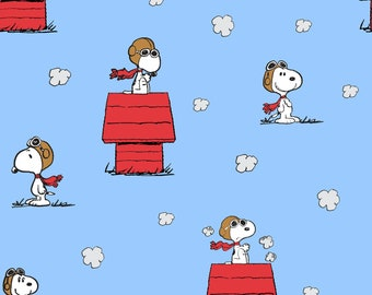 Peanuts Snoopy Red Baron Toss  fabric by the yard half yards and other various lengths