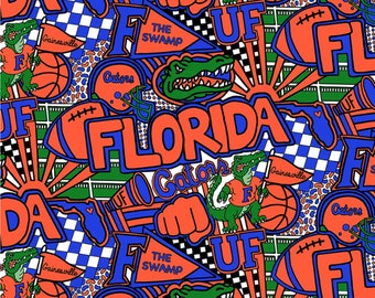Florida Gators Cheer Toss Cotton Fabric in various lengths