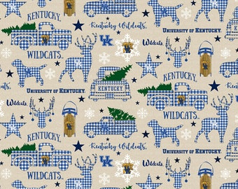 Kentucky Wildcats Christmas fabric in various lengths