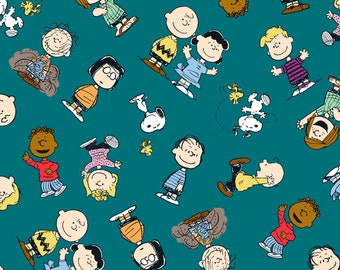 Peanuts Snoopy and The Gang is All Here fabric by the yard half yards and other various lengths