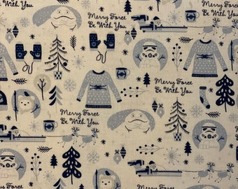Star Wars White Christmas Fabric in various lengths