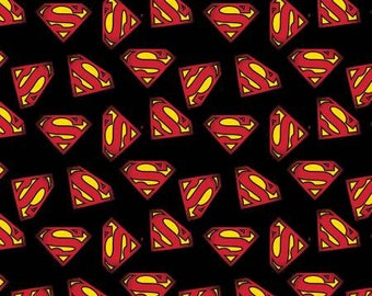 Superman Logo Fabric in Black by the yard or half yard and other various lengths
