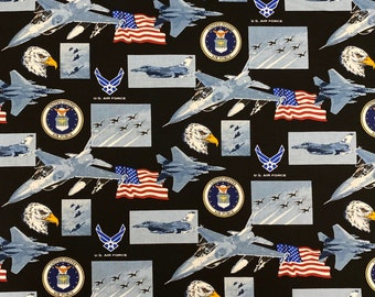 Air Force Fighter Fabric by the yard and other lengths