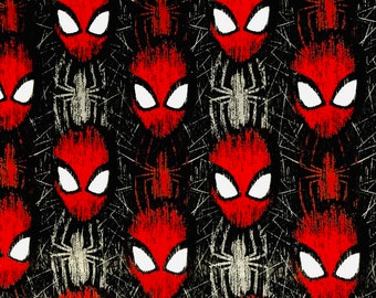 Marvel Spiderman Head Toss Fabric by the yard or half yard or other various lengths