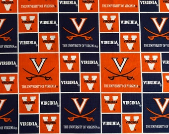 University of Virginia Logo Block Print Cotton fabric by the yard and half yard and other various lengths