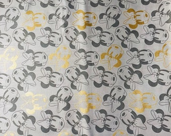 Disney Minnie Mouse Icon Metallic Fabric by the yard and half yard and other various lengths
