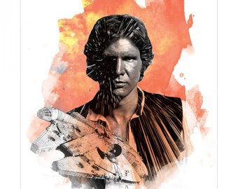 Star Wars Han Solo Panel Featuring Hon Solo and Millennium Falcon