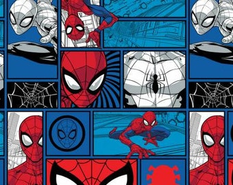 Marvel Spider-Man Brick Work Blue Fabric by the yard and other various lengths